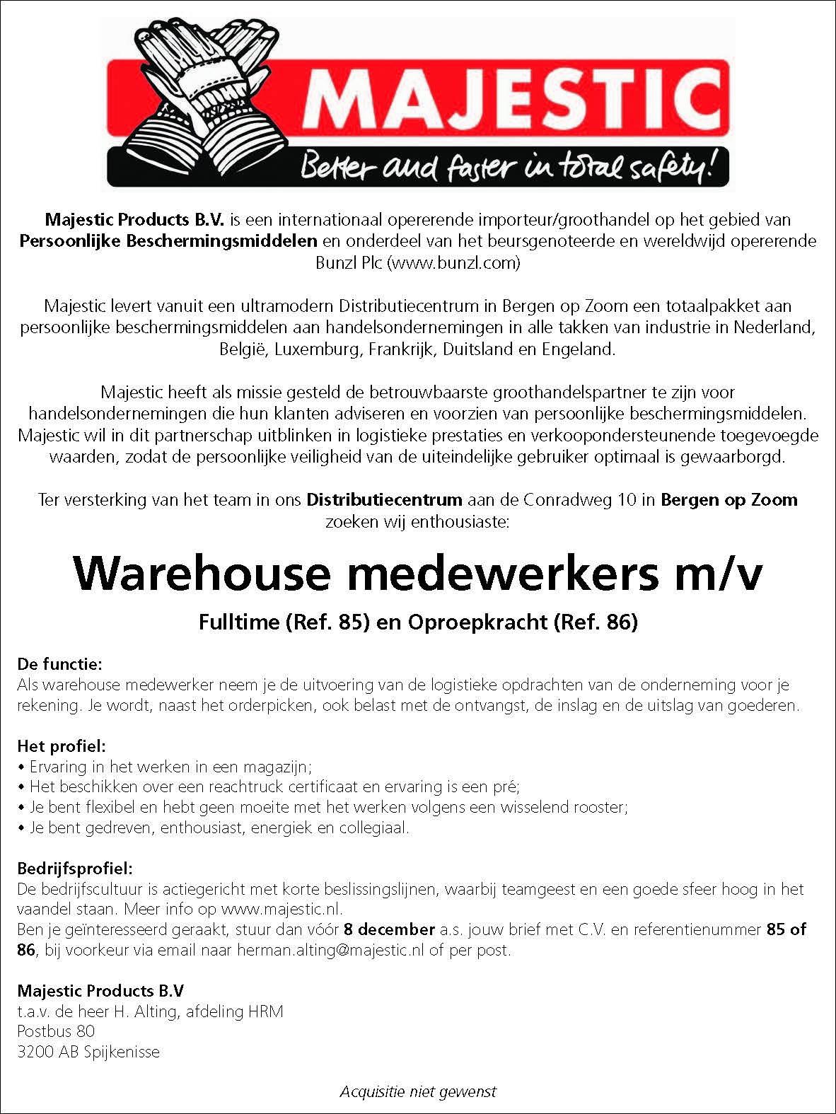 Warehouse Medewerker Brabantwerktnl