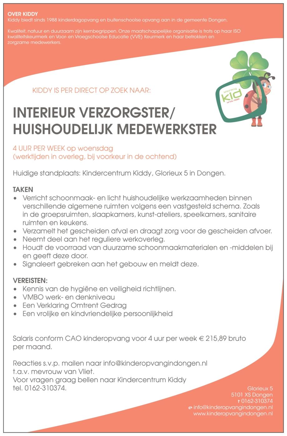 Interieur verzorgster/Huishoudelijk medewerkster   BrabantWerkt.nl